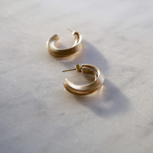 Mobius brass and silver earrings for women